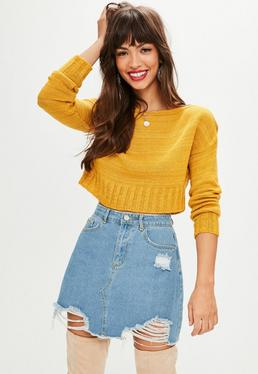Petite Mustard Off The Shoulder Sweater