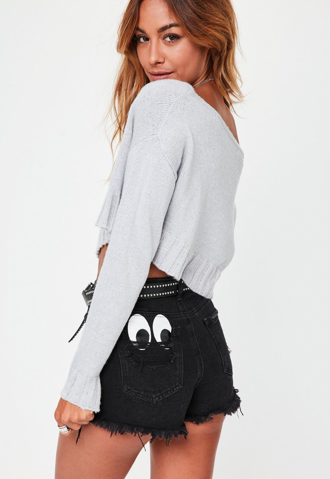Petite Gray Off The Shoulder Sweater | Missguided