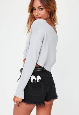 Petite Gray Off The Shoulder Sweater