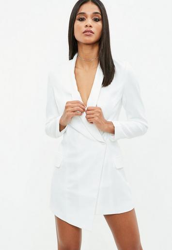 Petite White Blazer Dress Missguided