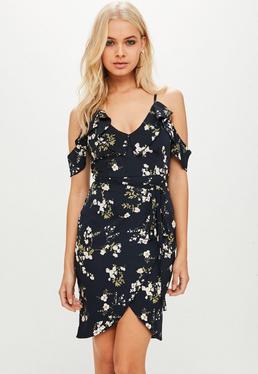Petite Granatowa sukienka z falbankami