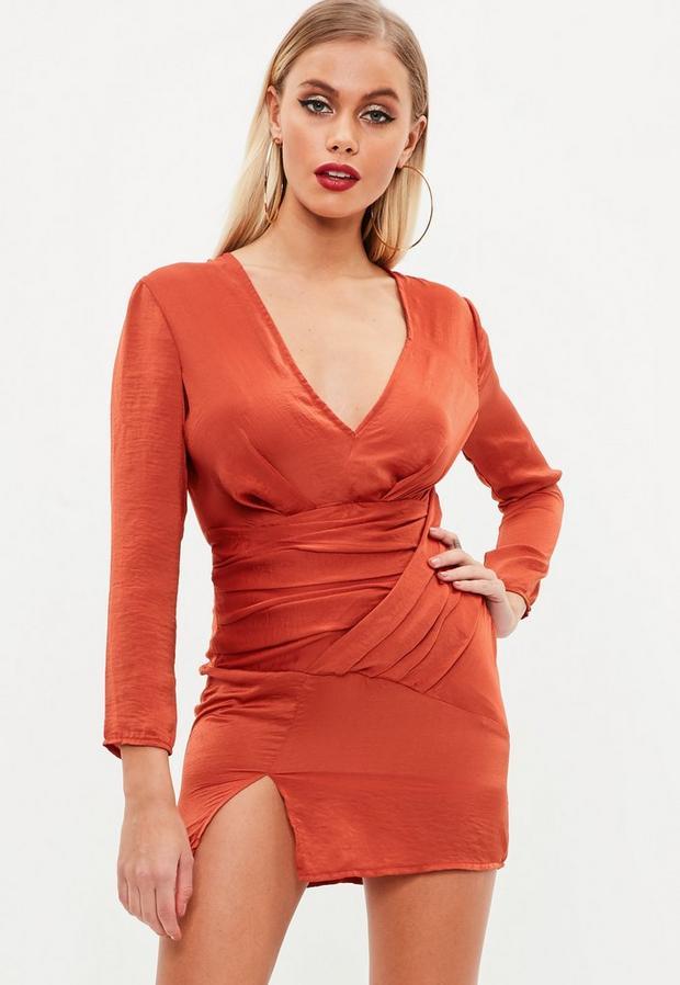 petite orange slinky panelled dress