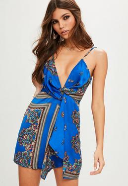 Petite Blue Paisley Twist Cami Dress