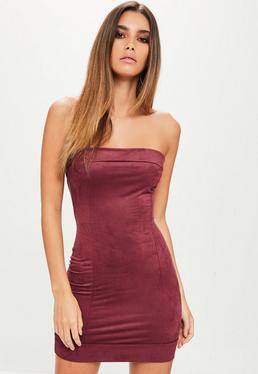 Petite Burgundy Faux Suede Bodycon Dress