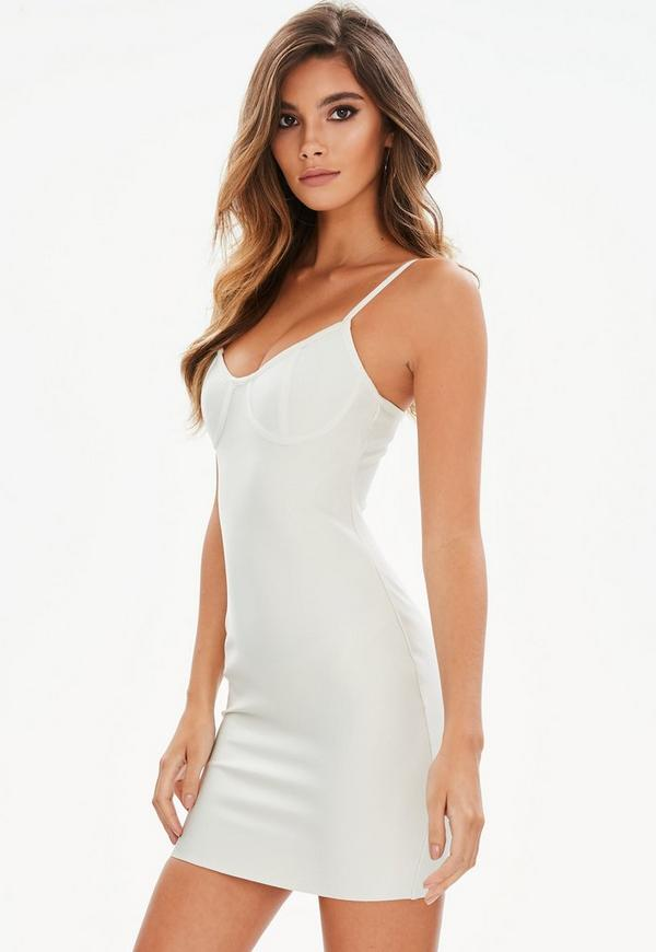 Petite white bandage bustcup bodycon dress