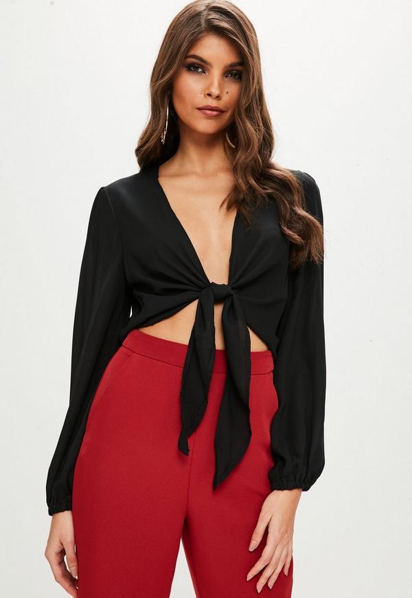 Petite Black Tie Front Long Sleeve Blouse