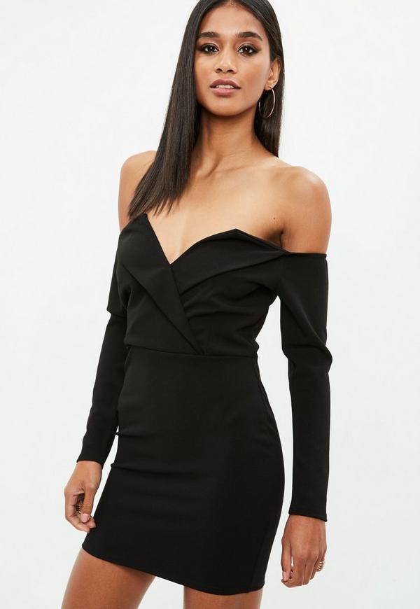 Petite Black Bardot Wrap Dress