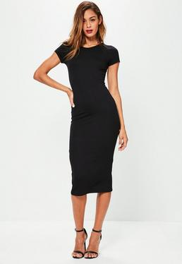 Petite Black Short Sleeve Midi Dress