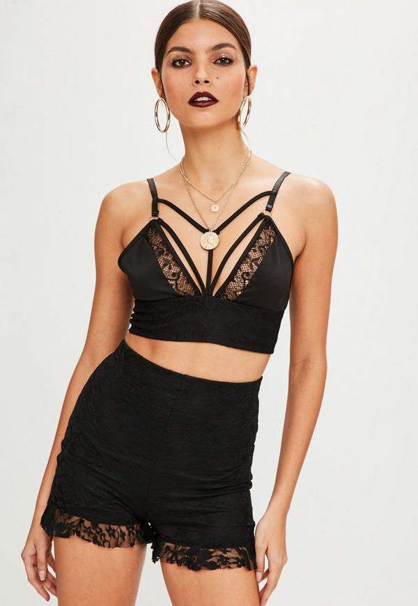 89d3bd4161b Petite Black Harness Lace Bralette by Missguided