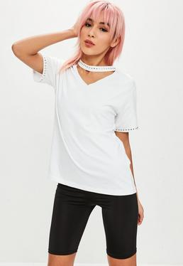 Petite White Stud Choker Neck T-Shirt
