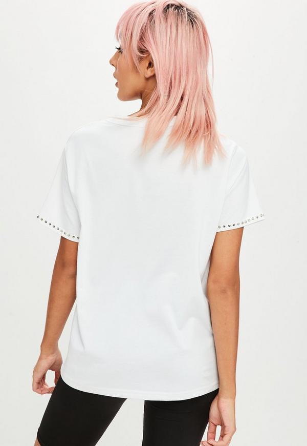 Petite white stud choker neck t shirt missguided ireland for Petite white tee shirt