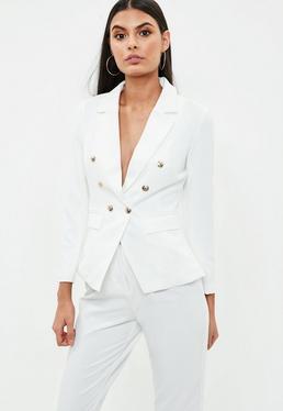 Petite White Military Blazer