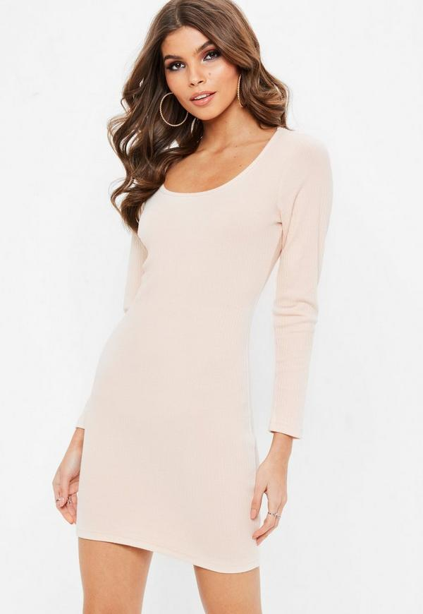 Petite nude ribbed long sleeved dress