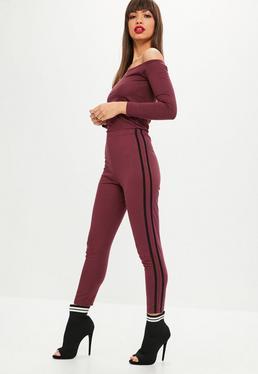 Petite Burgundy Bardot Jogger Jumpsuit