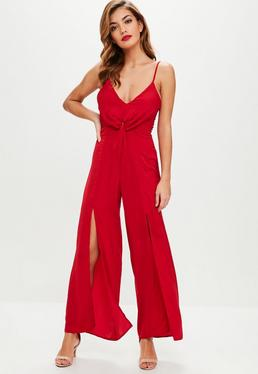 Petite Red Satin Hammered Jumpsuit