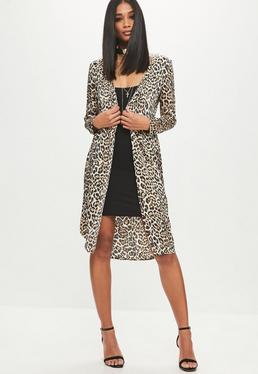 Petite Brown Leopard Long-line Satin Duster Jacket