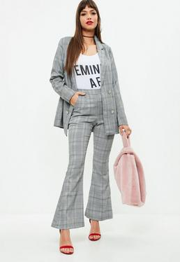Petite Grey Flare Trousers