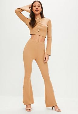Petite Camel Ribbed Flare Pants