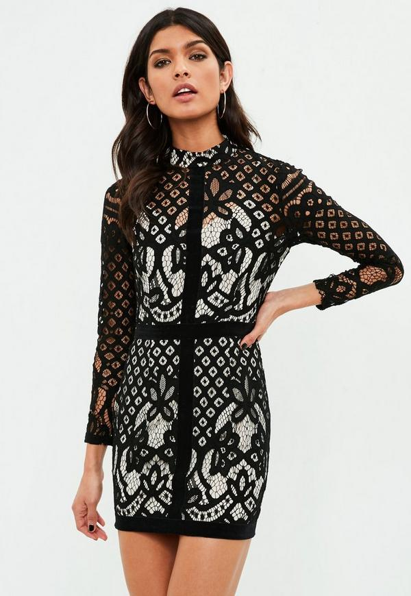 Petite black high neck lace bodycon dress
