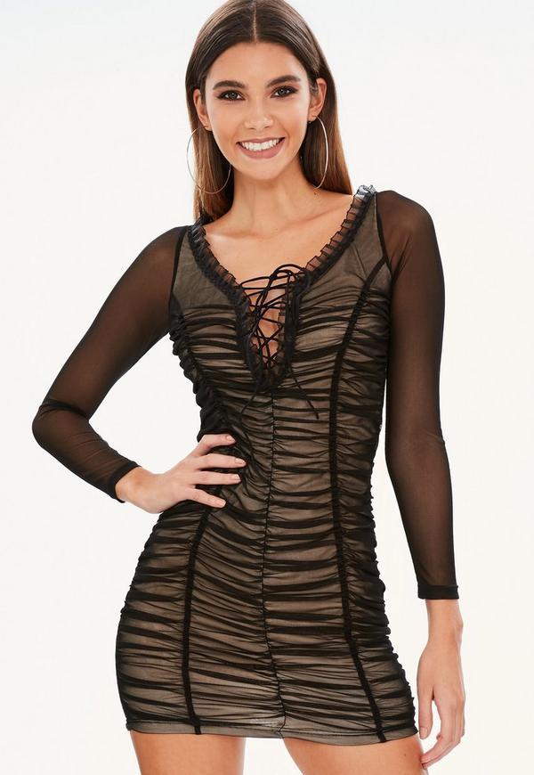 Petite black ruched mesh dress