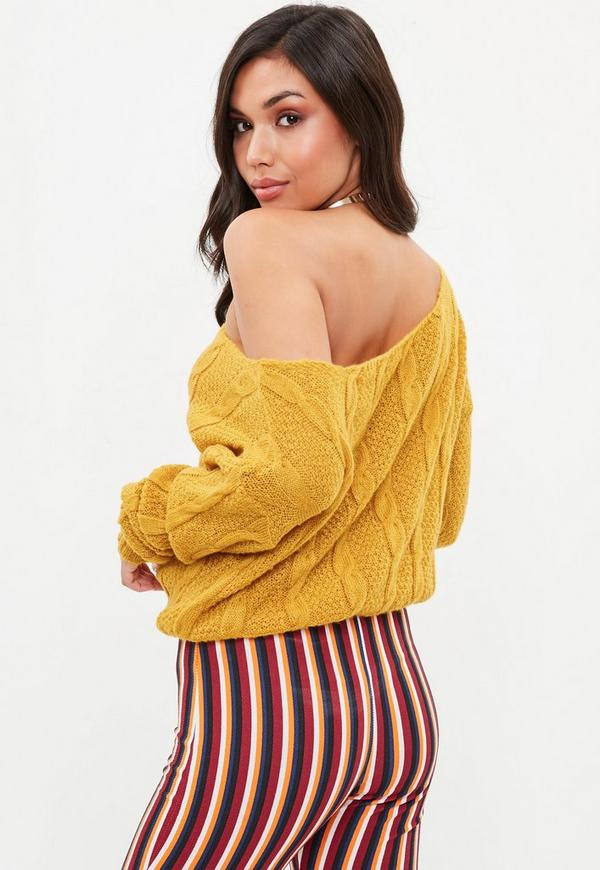 Petite Yellow Off The Shoulder Knitted Sweater
