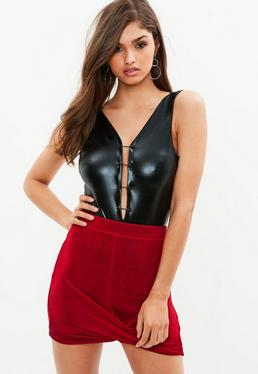 Petite Red Slinky Wrap Bodycon Skirt