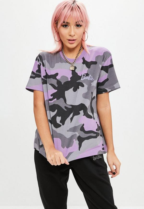Barbie x missguided petite purple camo t shirt