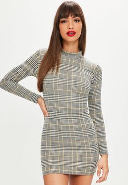 Petite Grey Checked High Neck Mini Dress