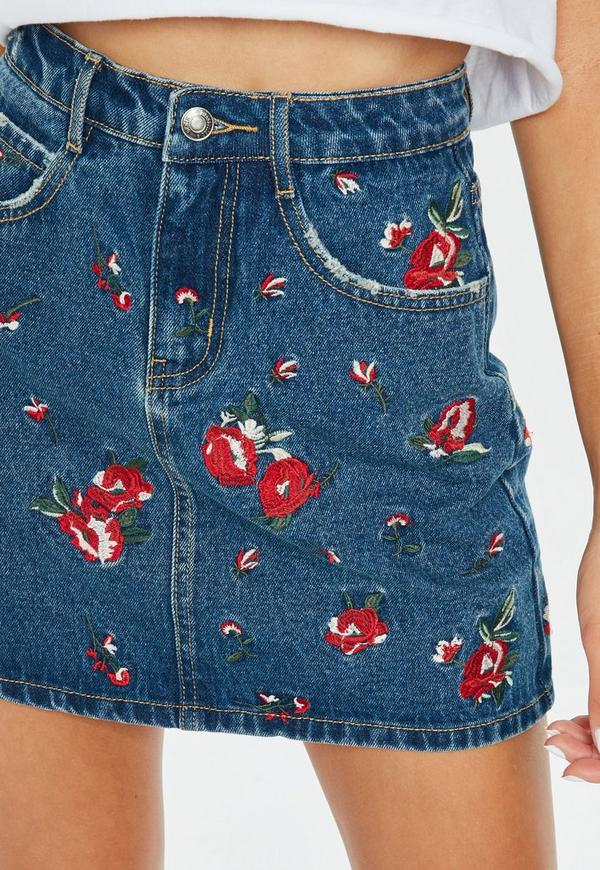 065067fbe8 Shoptagr | Petite Blue Floral Embroidered Denim Skirt by Missguided