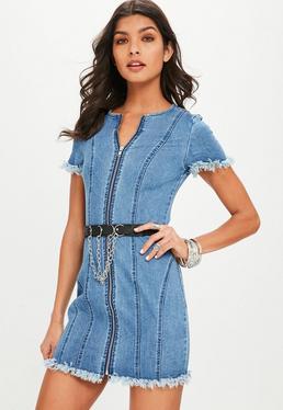 Petite Blue Short Sleeve Zip Front Mini Dress