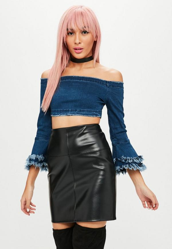 Petite Blue Frayed Flare Sleeve Bardot Top