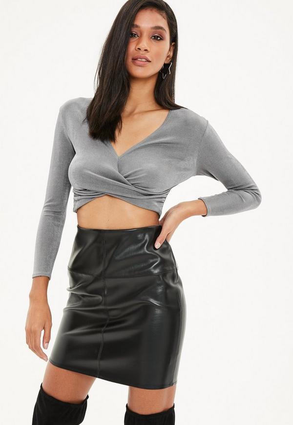 Petite Gray Slinky Wrap Long Sleeve Top