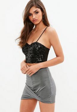 Petite Gray Slinky Wrap Skirt