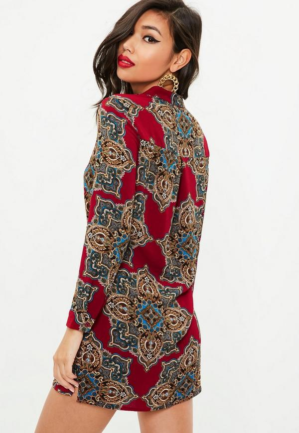 Petite Red Paisley Print Shirt Dress Missguided