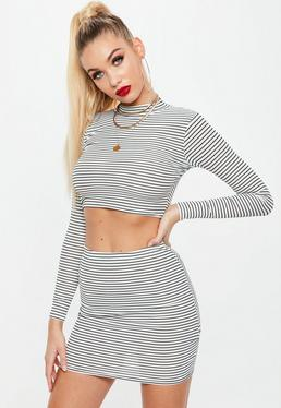 Petite White Ribbed Skirt