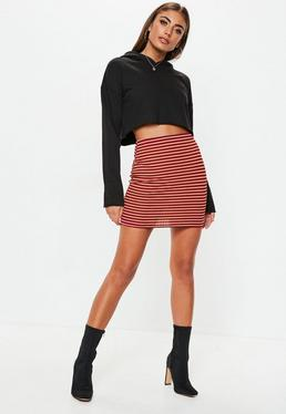 Petite Red Stripe Ribbed Skirt