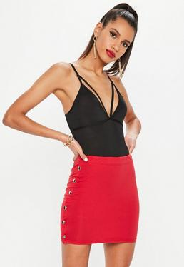 Petite Red Popper Side Mini Skirt