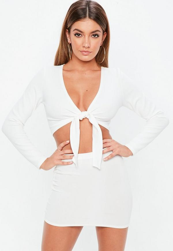 a09a7791e62 Shoptagr | Petite White Long Sleeve Tie Front Crop Top by Missguided
