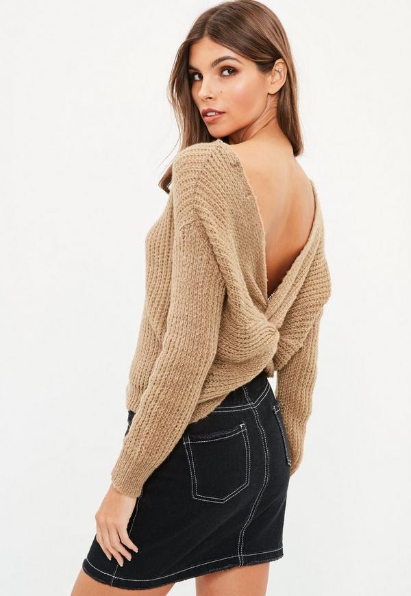 Petite Brown Fluffy Yarn Twist Back Sweater Missguided