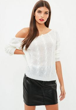 Petite White Off The Shoulder Cable Knit Jumper