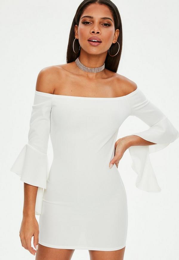 Petite White Bardot Frill Sleeve Dress