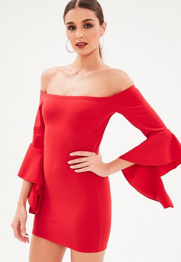Petite red bardot frill sleeve dress