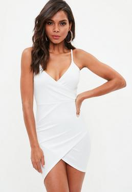 Petite White Scuba Crepe Wrap Dress