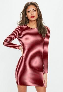 Vestido petite manga larga a rayas en rojo