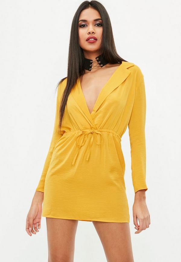 Petite yellow hammered satin tie waist dress