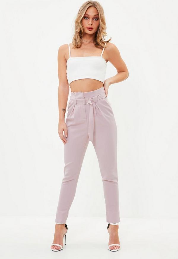 Petite pink paperbag waist cigarette pants