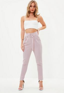 Petite Pink Paperbag Waist Cigarette Trousers