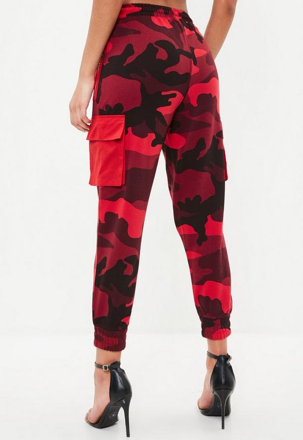 Petite Red Camo Jersey Combat Trousers Missguided