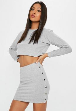 Petite Gray Popper Side Mini Skirt