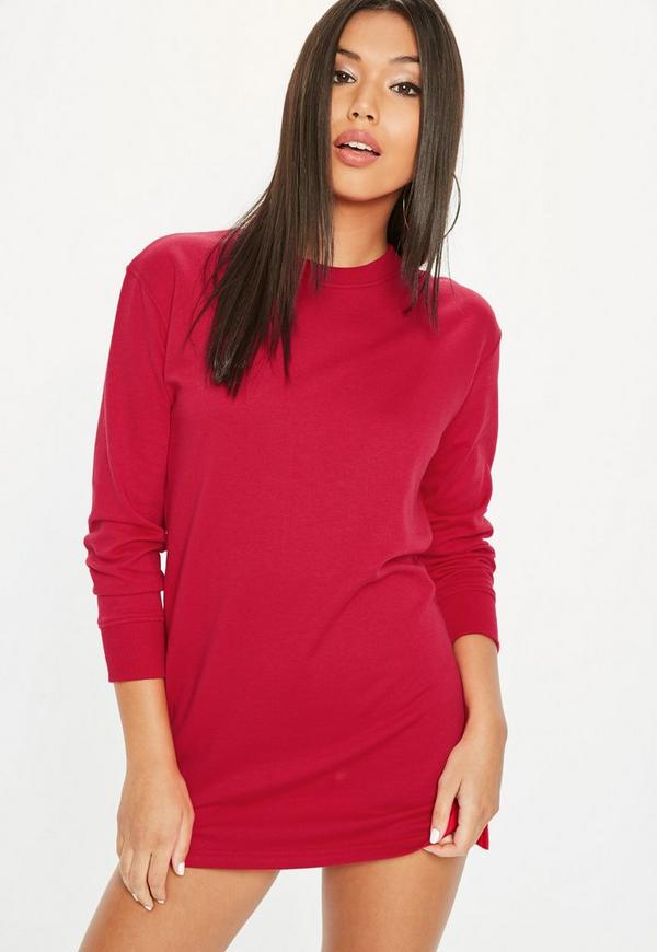 Petite red sweatshirt dress